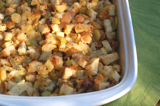Apple, Sausage, and Parsnip Stuffing with Fresh Sage