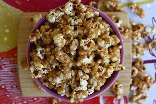 Peanut Butter Popcorn in purple bowl