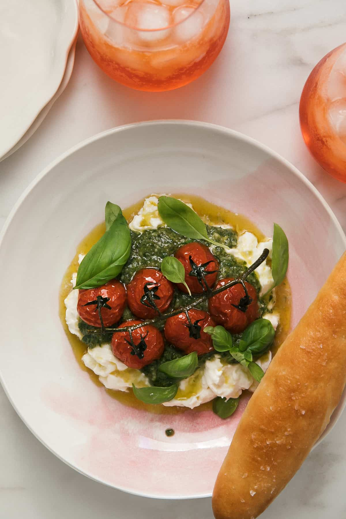 Bowl of Caprese Sald with Breadstick