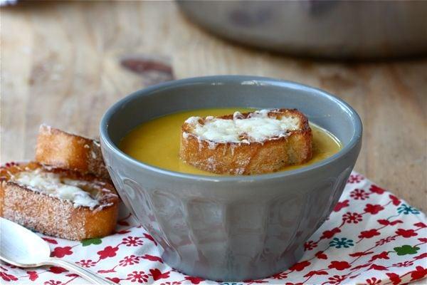 Winter Squash Soup With Gruyere Croutons Recipe — Dishmaps