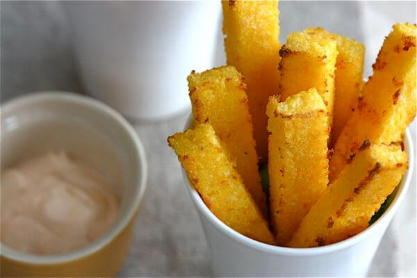 Baked Polenta Fries With Spicy Lime Mayo A Cozy Kitchen