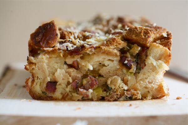 Pancetta Leek And Apple Challah Bread Pudding A Cozy Kitchen