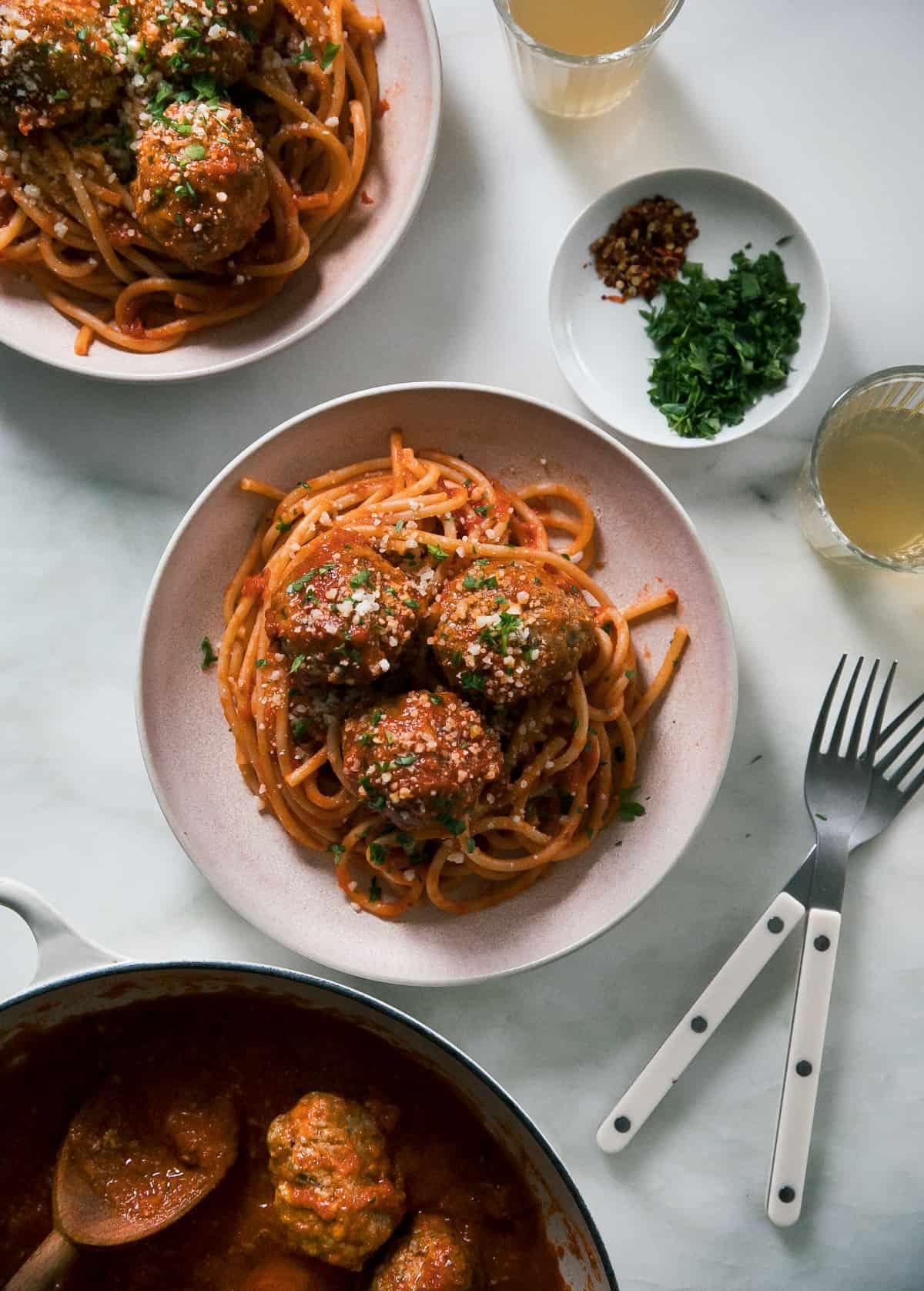 The Best Fall Recipes - spaghetti and meatballs overhead