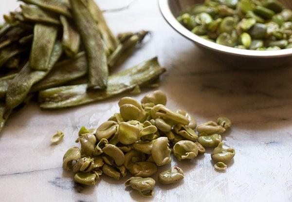 Fava Beans On A Baking Sheet