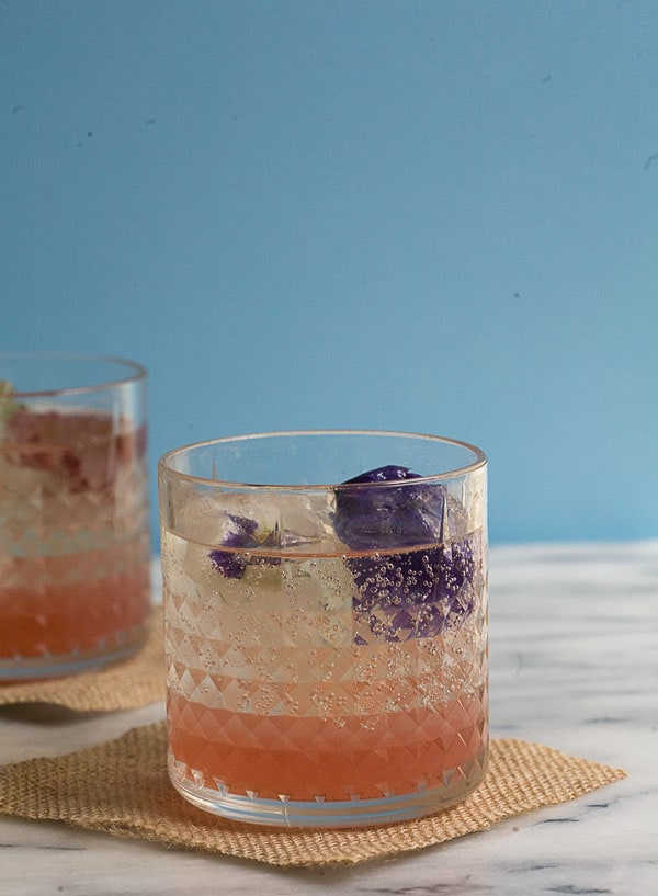 Rhubarb Fizz with Edible Flower Ice Cubes