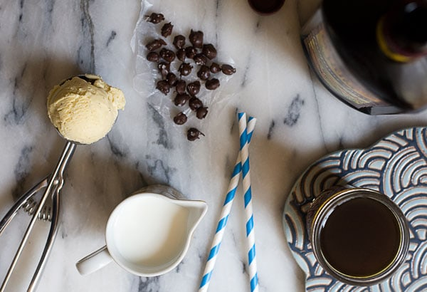 Boozy Milkshake: Coffee and Rum Milkshake with Salty Chocolate-Covered Coffee Beans // www.acozykitchen.com