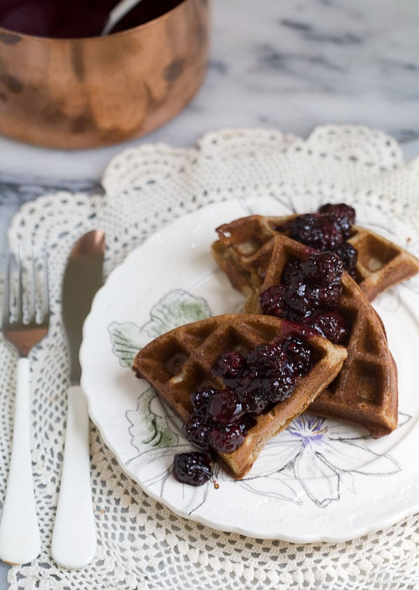 Rye Waffles with Blackberry Compote // www.acozykitchen.com