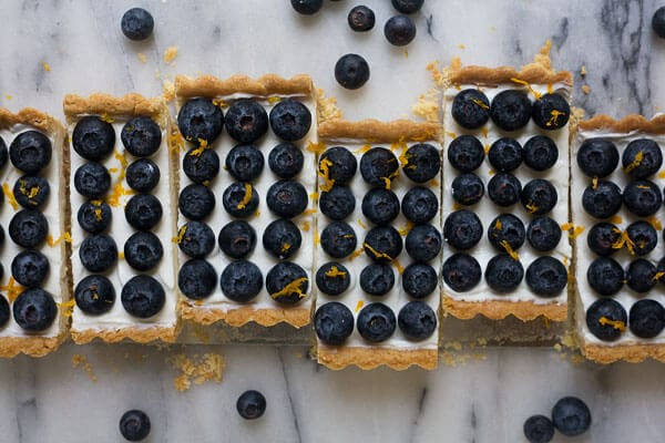Lebneh Honey Blueberry Tart with an Almond Cardamom Crust