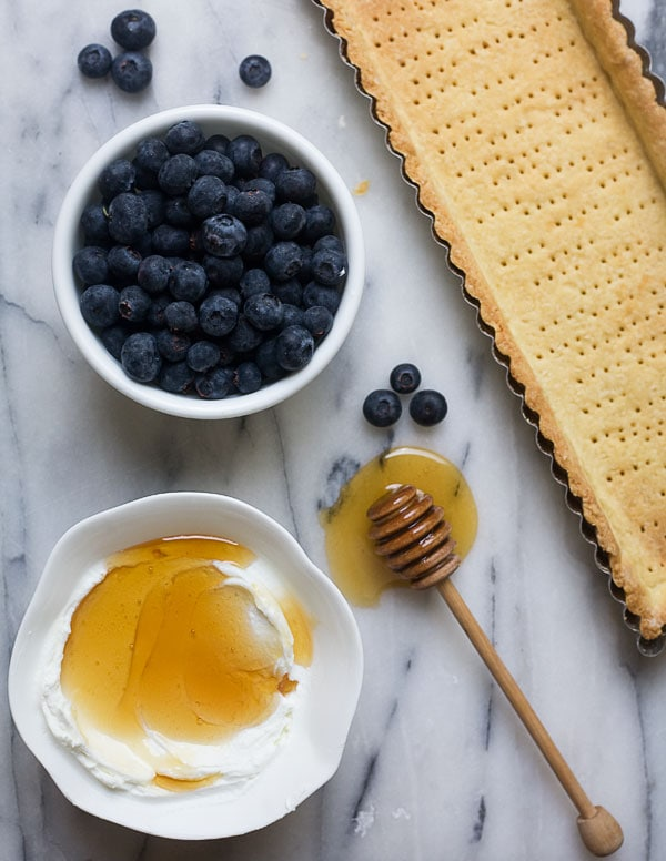 Lebneh Honey Blueberry Tart with an Almond Cardamom Crust // www.acozykitchen.com