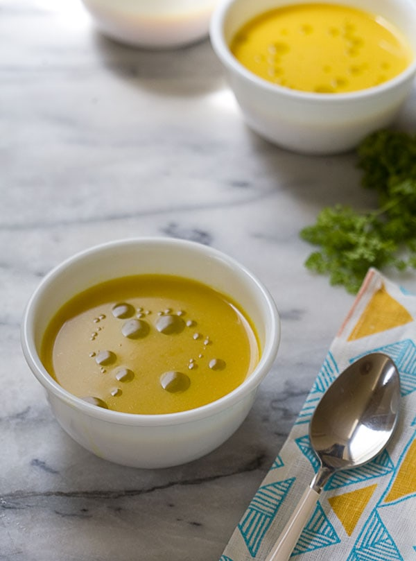 Yellow Pepper Soup with Chervil Oil // www.acozykitchen.com