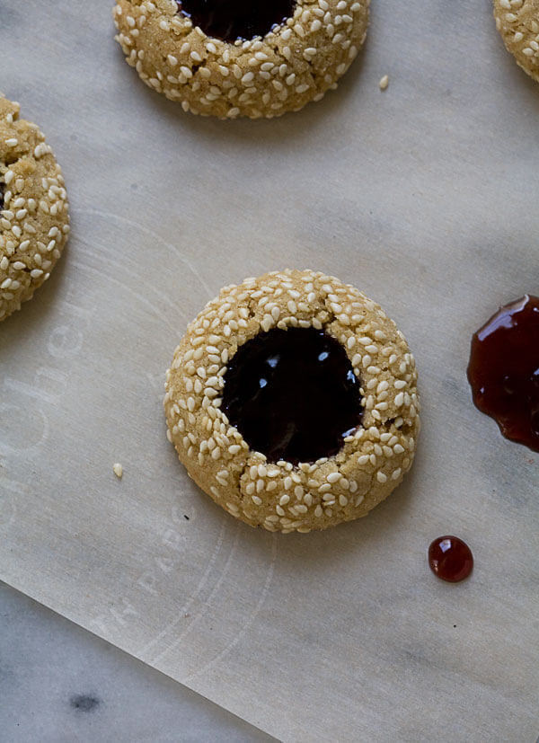Tahini and Concord Grape Thumbprint Cookie