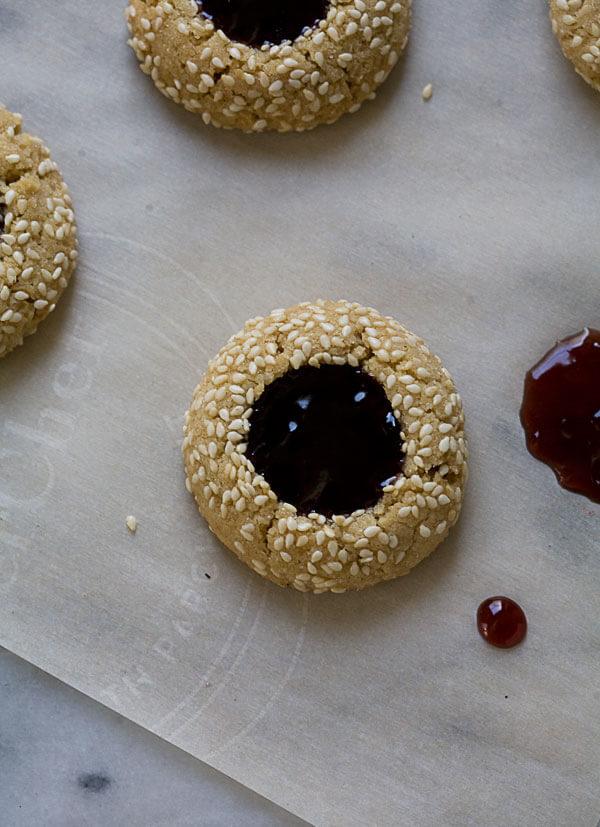 Tahini and Concord Grape Thumbprint Cookie