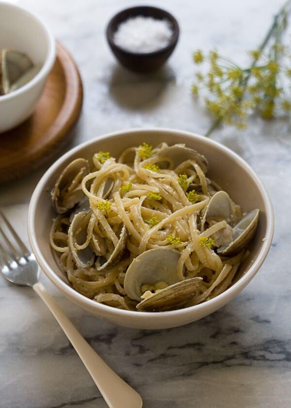 Creamy Corn Pasta with Clams // www.acozykitchen.com