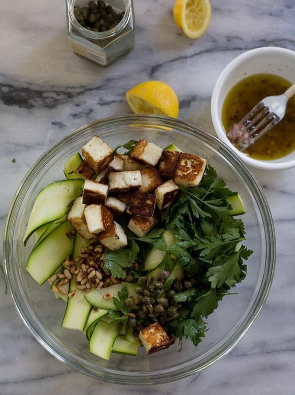Zucchini Ribbon Haloumi Salad // www.acozykitchen.com