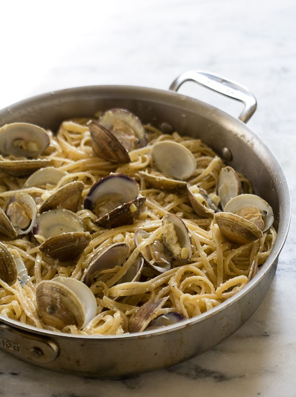 Creamy Corn Pasta with Clams // www.acozykitchen.com