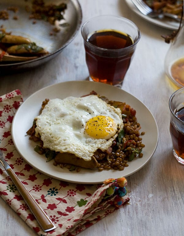Wheatberry Hash with Purslane, Bacon and Pimenton // www.acozykitchen.com