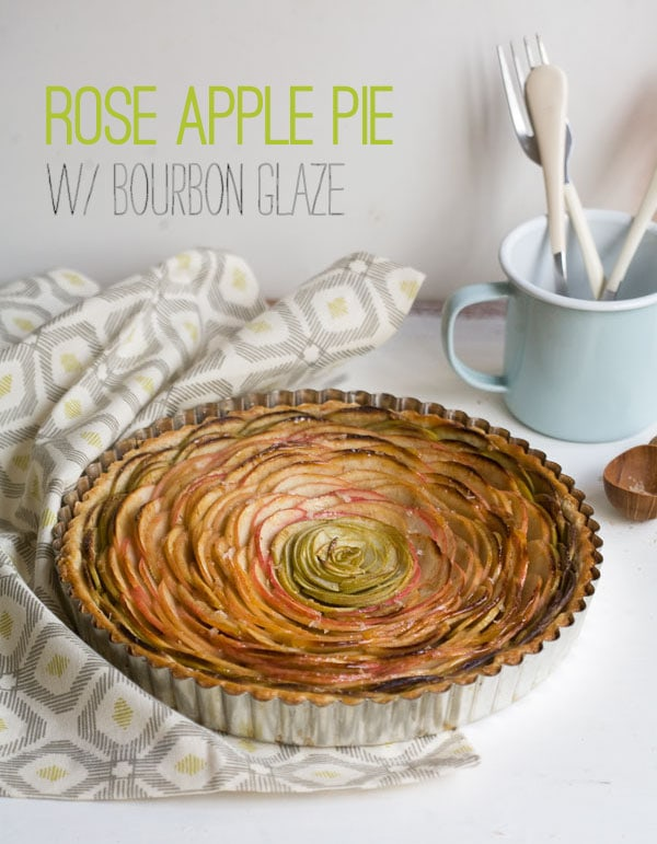 Rose Apple Pie with Bourbon Glaze // www.acozykitchen.com