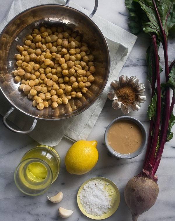 Beet Hummus with Crispy Beet Greens // www.acozykitchen.com