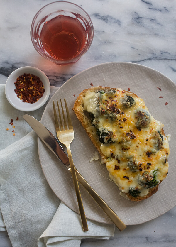 Broccoli and Cheese Tartines // www.acozykitchen.com