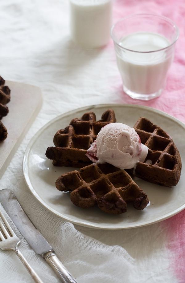 Double Chocolate Dessert Waffles // www.acozykitchen.com