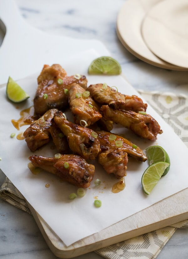 Hot Honey Lime Wings // www.acozykitchen.com
