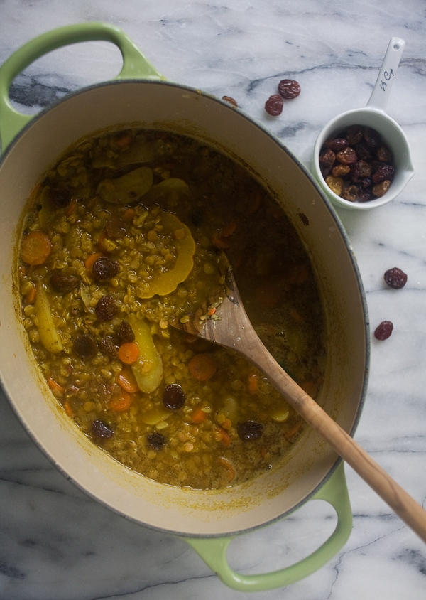 Curried Lentil Soup with Golden Raisins and Delicata Squash // www.acozykitchen.com
