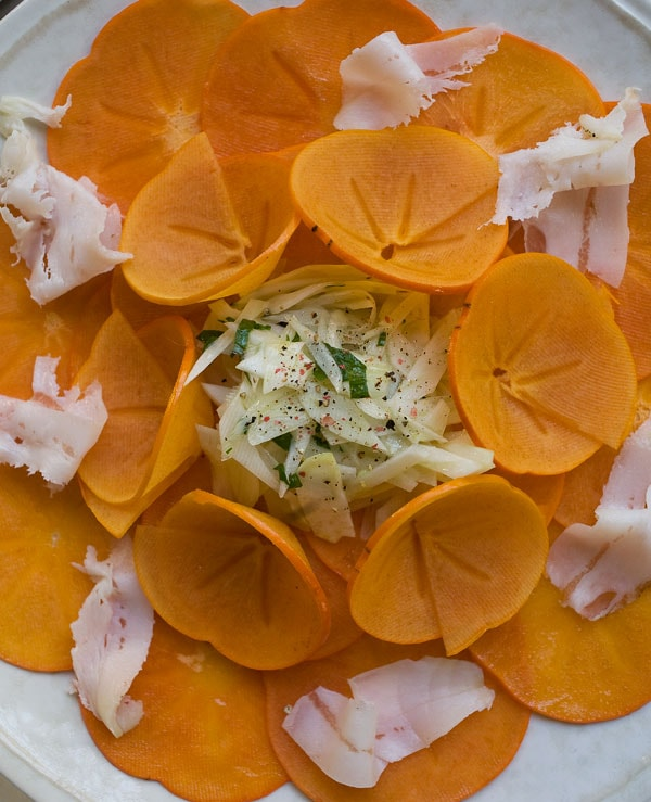 Persimmon Salad with Fennel and Lardo // www.acozykitchen.com