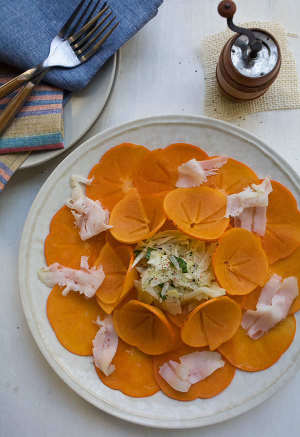 Persimmon Salad with Fennel and Lardo 2