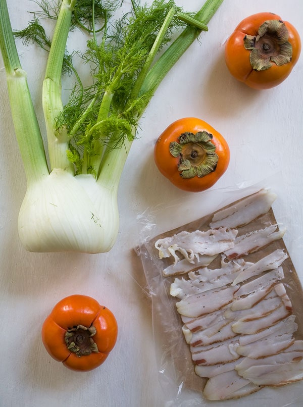 Persimmon Salad with Fennel and Lardo 4