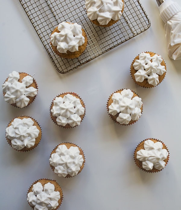 Sweet Potato Muffins with Marshmallow Frosting // www.acozykitchen.com