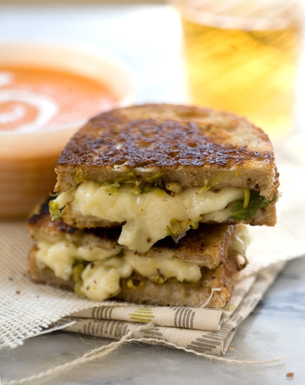 Dijon Brussels Sprout Grilled Cheese // www.acozykitchen.com