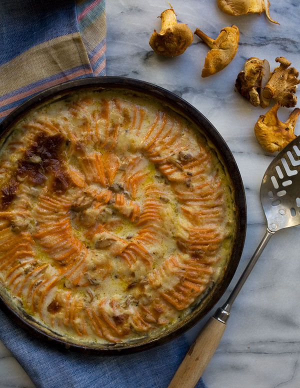 Sweet Potato Gratin with Chantrelles and Comte // www.acozykitchen.com
