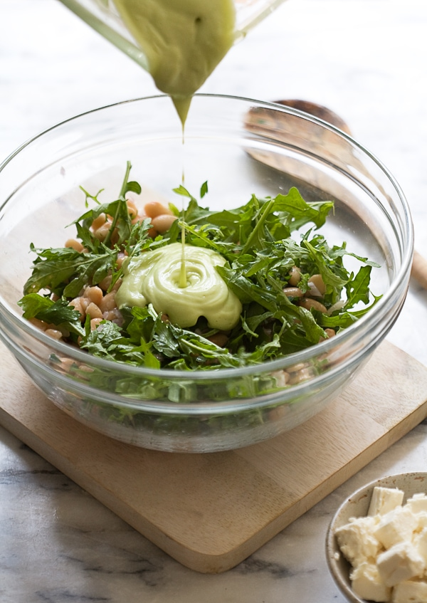 Arugula Cannellini Salad with Avocado Dressing // www.acozykitchen.com