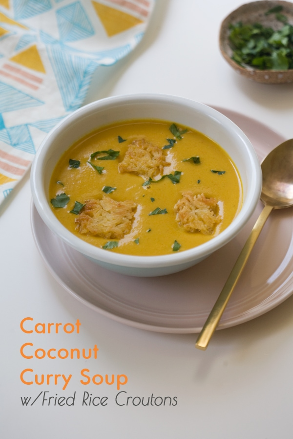 Carrot Coconut Curry Soup w/ Fried Rice Croutons // www.acozykitchen.com