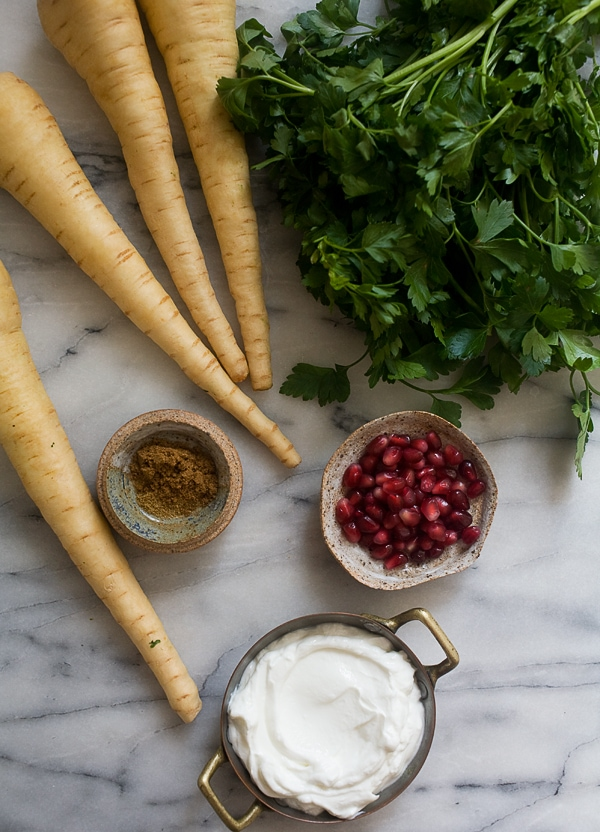 Spiced Parsnip Fries with Roasted Garlic Yogurt // www.acozykitchen.com