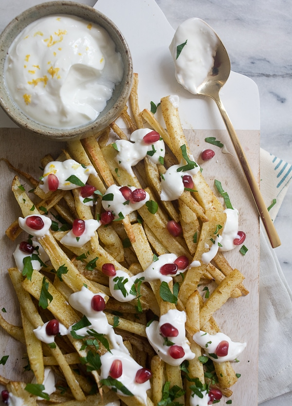 Spiced Parsnip Fries with Roasted Garlic Yogurt// www.acozykitchen.com