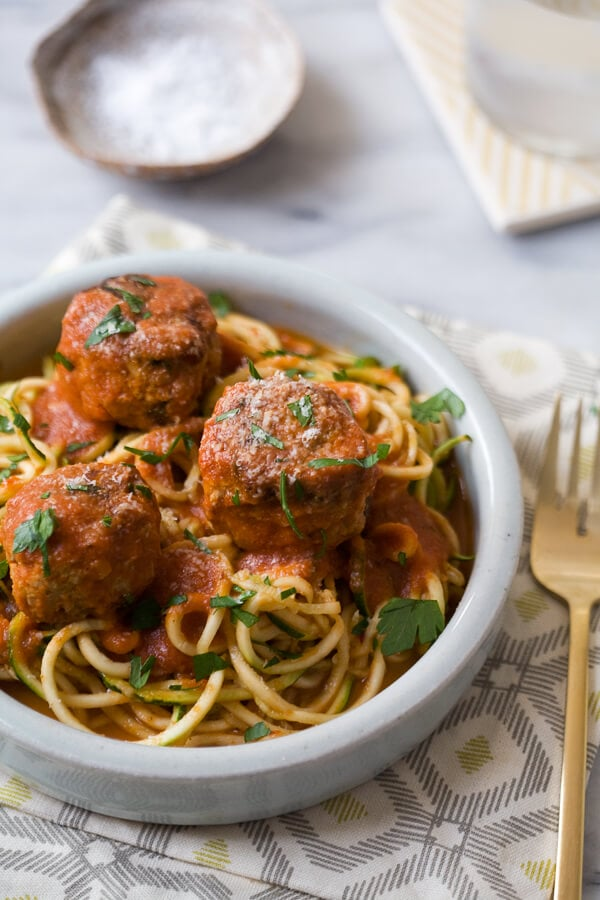 Zucchini Noodles and Turkey Meatballs // www.acozykitchen.com