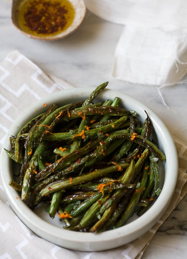 Blistered Blue Lake Beans with Chili Oil, Mint and Orange Zest // www.acozykitchen.com