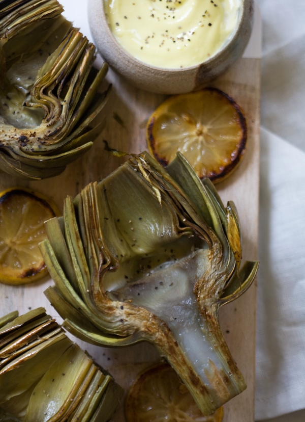 Buttery Pan-Seared Artichokes with Ponzu Aioli