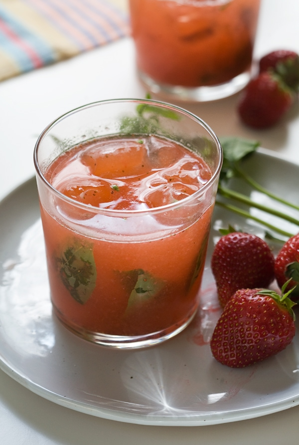 Strawberry Basil Gin and Tonic // www.acozykitchen.com