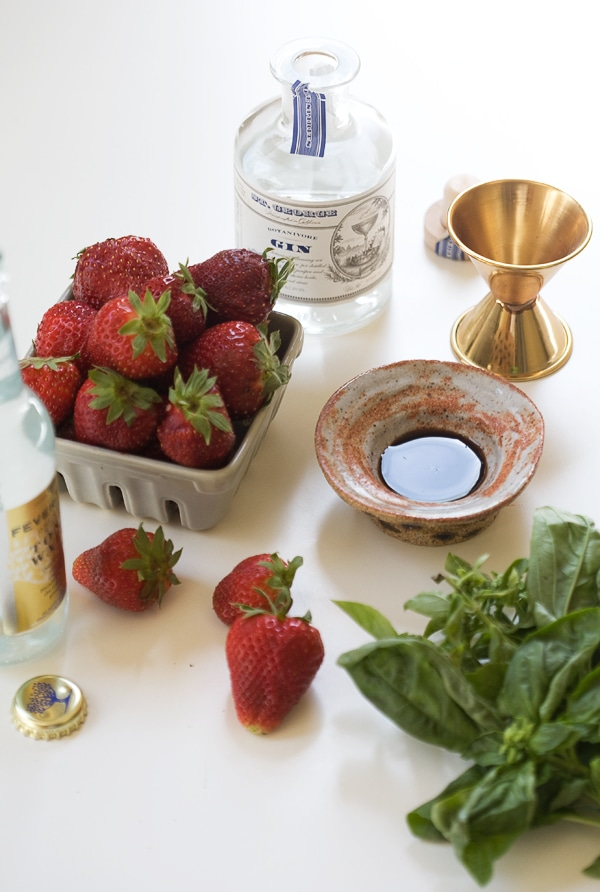 Strawberry Basil Gin and Tonic // www.acozykitchen.com