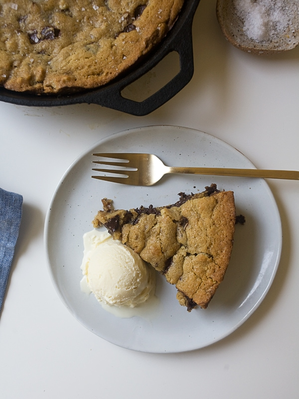 Dark Chocolate Chunk and Walnut Skillet Cookie | www.acozykitchen.com