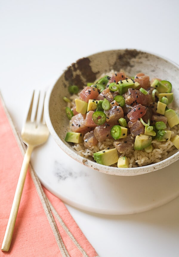 Poke Avocado Bowl|www.acozykitchen.com