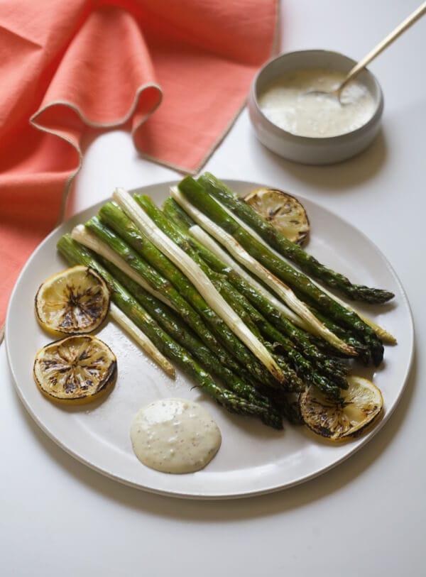 Roasted Asparagus with Hazelnut Mayonnaise // ww.acozykitchen.com