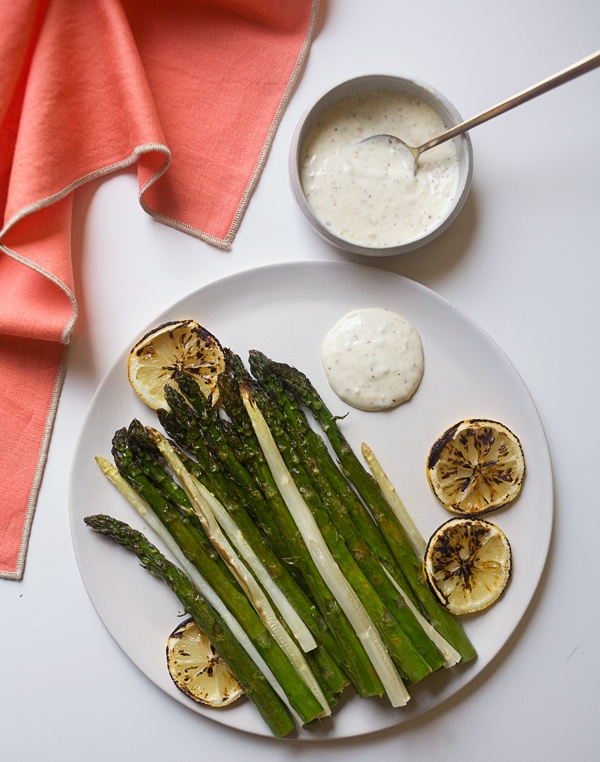 Roasted Asparagus with Hazelnut Mayonnaise // ww.acozykitchen.com