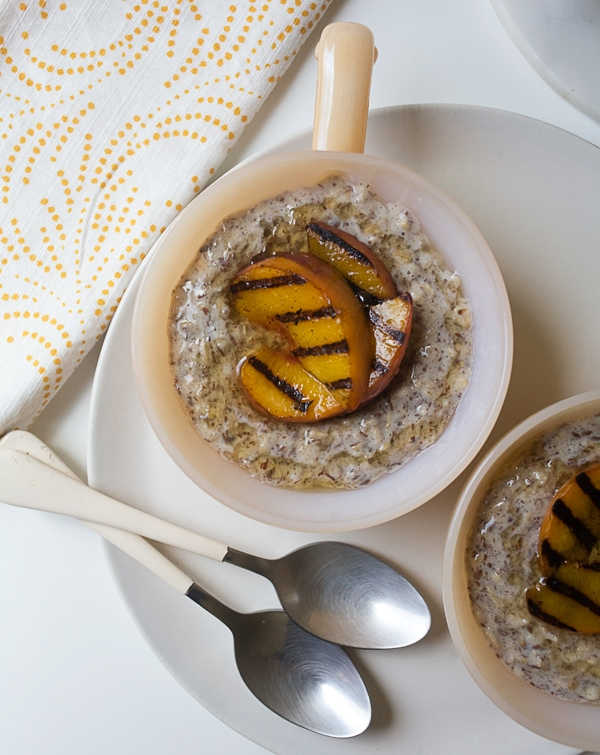 Flax and Oat Porridge with Grilled Peaches