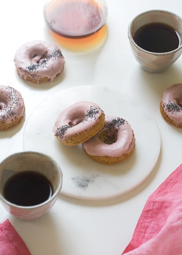Rhubarb Poppy Seed Baked Doughnuts