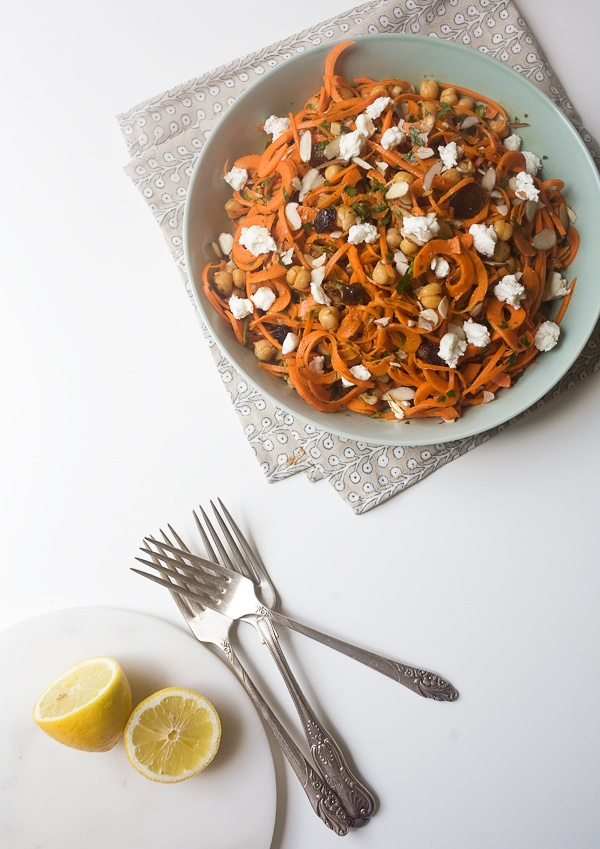 Moroccan Carrot Salad with Golden Raisins, Harissa and Goat Cheese