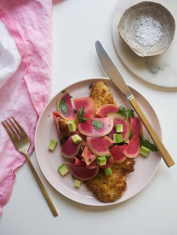 Watermelon Radish Chicken Milanese // www.acozykitchen.com
