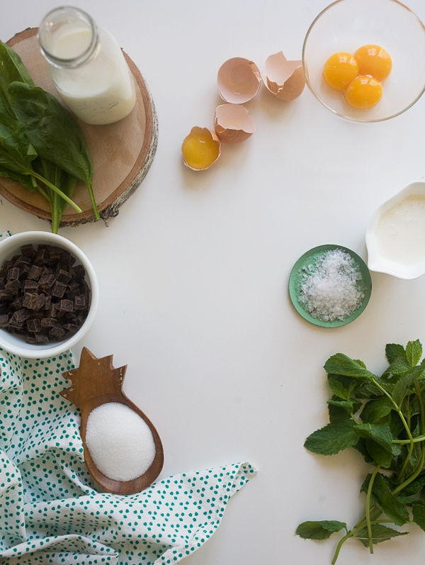 Mint Dark Chocolate Chip Ice Cream (w/ a secret ingredient for coloring) | www.acozykitchen.com